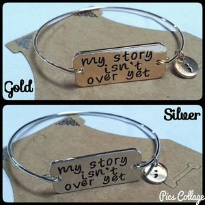 """My Story Isn't Over Yet"" Semi-Colon Bangle"