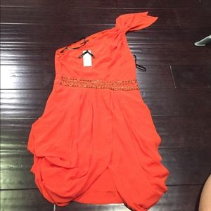 Asos tfnc one shoulder sequin red dress sz L nwt