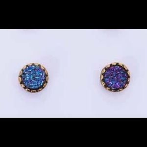 Blue Druze and etched gold tiny studs