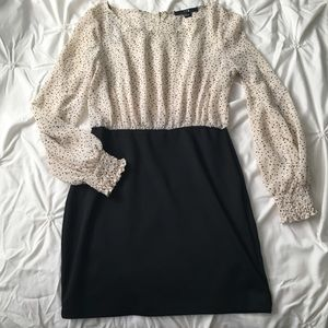 Forever 21 Long Sleeve Dress Sheer Polkadot Beige