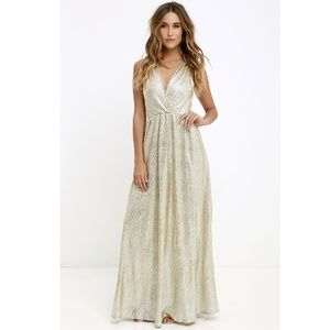 Lulus Gold Maxi Dress