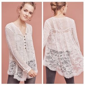 Scalloped Lace Henley sz 2 white by Floreat