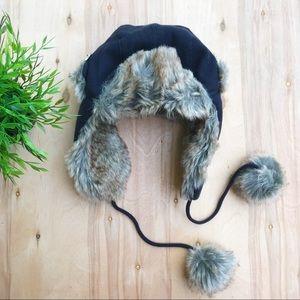 Fur lined ear muff beanie
