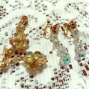 Yep pair of glass/crystal clip on earrings