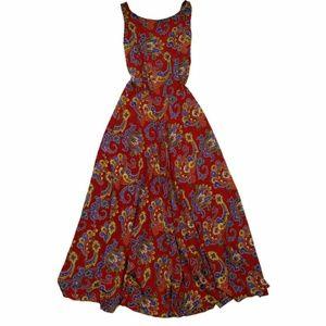 Vintage Open Back Maxi Paisley Dress XS S HANDMADE
