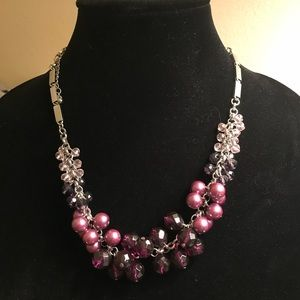 Purple and silver bead necklace