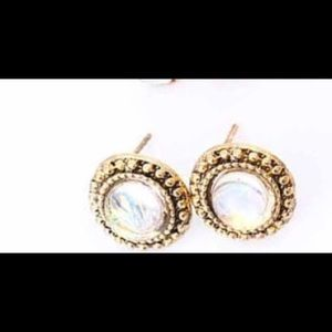 Crystal and etched gold studs