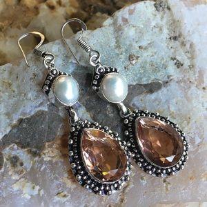 Peach quartz and baroque pearl drop earrings