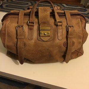 Vintage leather weekend duffel bag