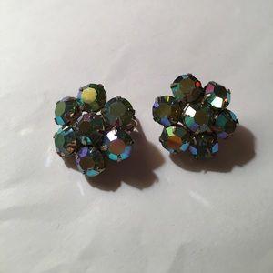 stunning vintage blue/purple crystal clip earrings