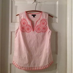 J. Crew embroidered eyelet tank pink