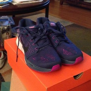 Navy and purple nikes
