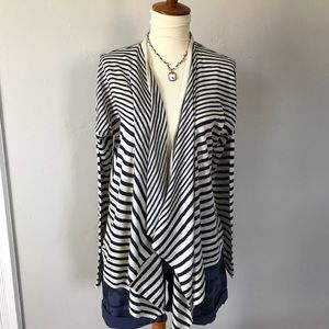 Old Navy Blue and Cream Striped Cardigan. Size M