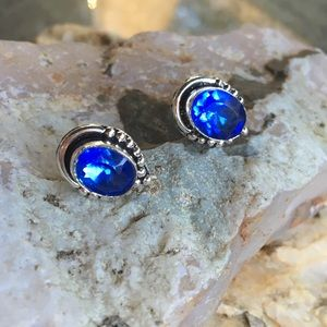 Royal blue faceted quartz stud earrings
