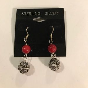 Sterling silver red earrings