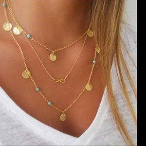 Tri-layer gold-turquoise,/coins/infinity necklace
