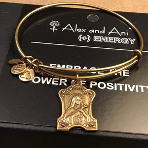 RARE Alex and Ani Saint Theresa Bangle.l