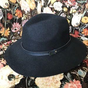 Wide Brim Wool Fedora Black One Size