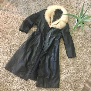Vintage Black Leather Duster with Fur Collar