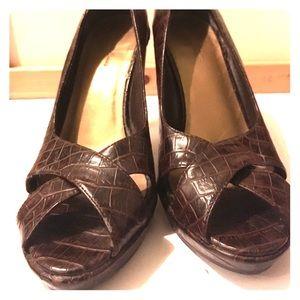 Faux Alligator Skin Heels