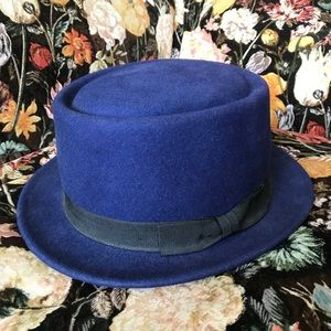 Wool Boater Hat Navy One Size