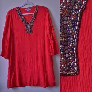 Francescas Red Beaded Shift Dress