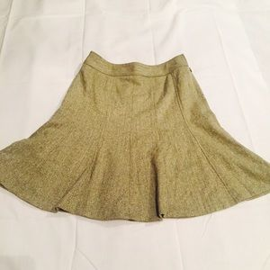 Ann Taylor Green Wool Blend Tweed Skirt Skater