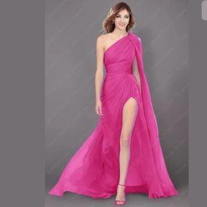 Fuschia Flowy Side Slit Asymmetric Gown
