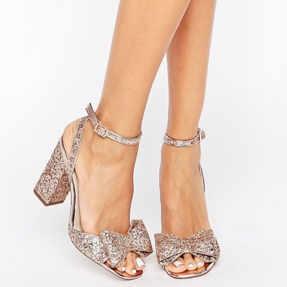 ca15cc1c092 49% off ASOS Shoes - ASOS Rose Gold   Gold Glitter Bow Heels from .