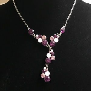 Purple and pink Y necklace