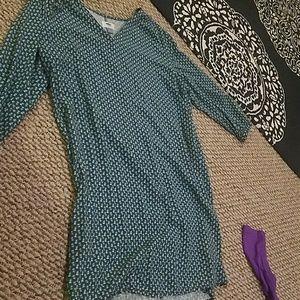 Teal patterned shift dress