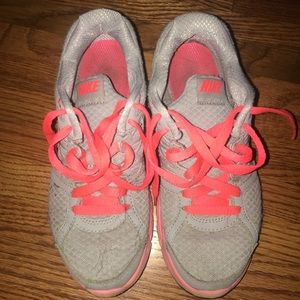 Nike gray and coral running shoes