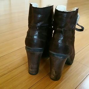 Brown block heeled booties