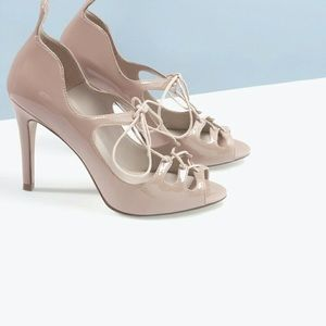 Patent leather nude Zara lace up heels