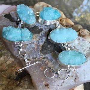 Blue quartz crystal druzy bracelet