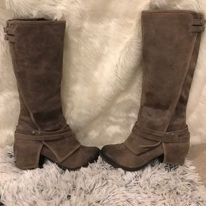 Distressed look combat high boots brown, like new