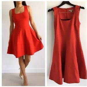 Banana republic red knit fit and flare dress