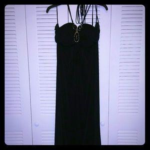 Black bejeweled maxi dress