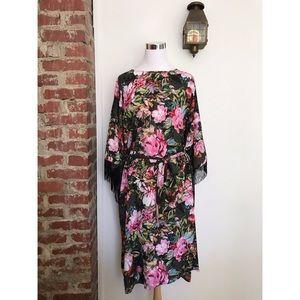 ASOS Curve Fringed Kimono Dress Floral Belted Plus