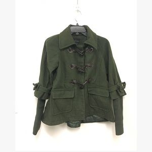 MODA International Green Pea Coat w/ Bow Detail.