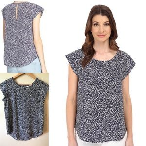 Joie Printed Keyhole Seamed Silk Blouse