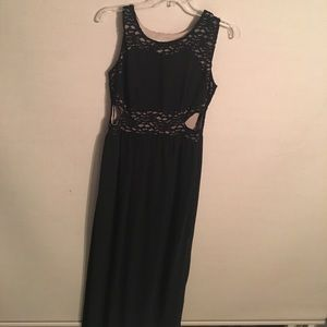 Black Lace Detailed Maxi With Cut Outs
