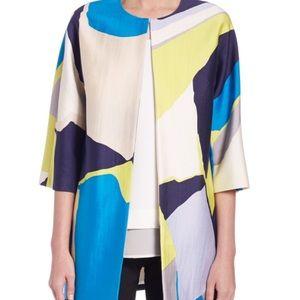 Geo print silk coat