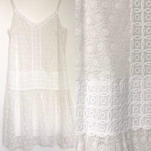 Club Monaco White Latice Lace Strap Dress