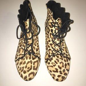 Top shop leopard print lace up shoes
