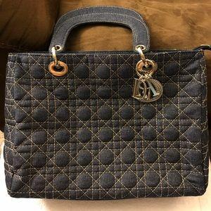 Handbags - Christian Dior Small Quilted Denim Purse