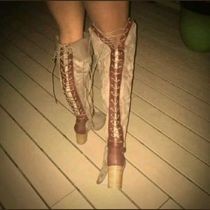 Torrid Lace Up Over The Knee Taupe Boots 12