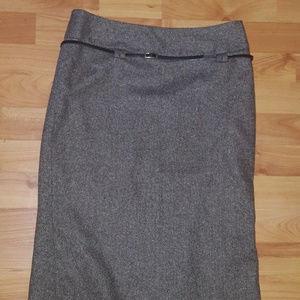 Zara Basic Brown Wool Tweed Career Skirt