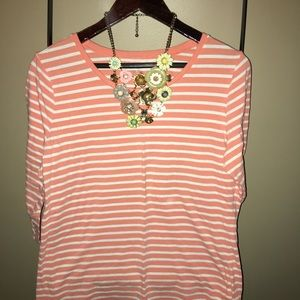 Limited 3/4 XL coral stripe top