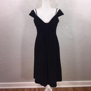 WHBM black double strap midi dress